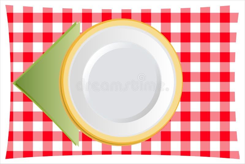 有餐巾的菜盘 向量例证