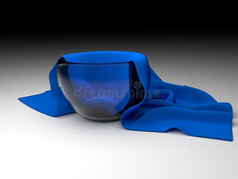 有餐巾的玻璃碗 免版税库存图片