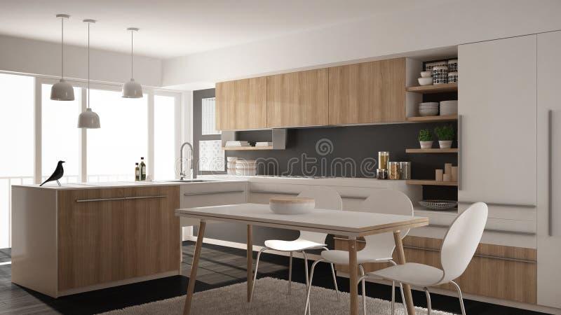 有餐桌、地毯和全景窗口,白色和灰色建筑学室内设计的现代minimalistic木厨房 库存照片