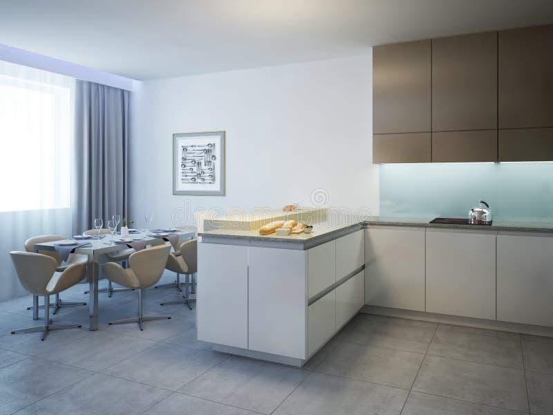有餐桌现代风格的厨房 免版税库存照片