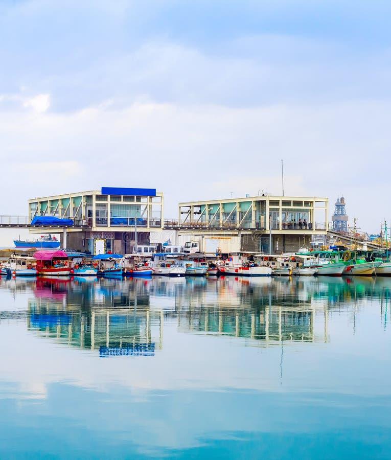 有餐馆的小游艇船坞,利马索尔,塞浦路斯 图库摄影