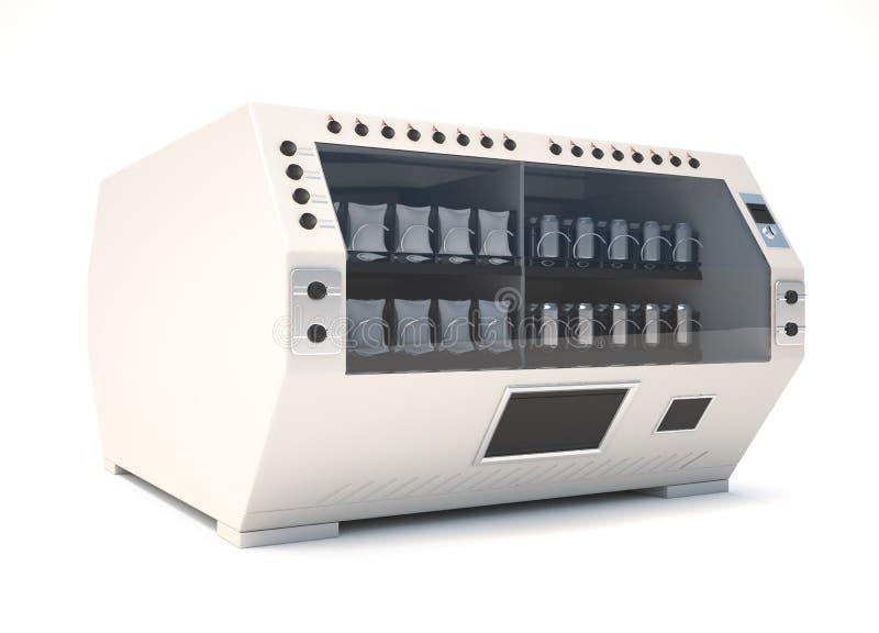 有饮料和快餐的自动售货机在白色backgro 库存例证