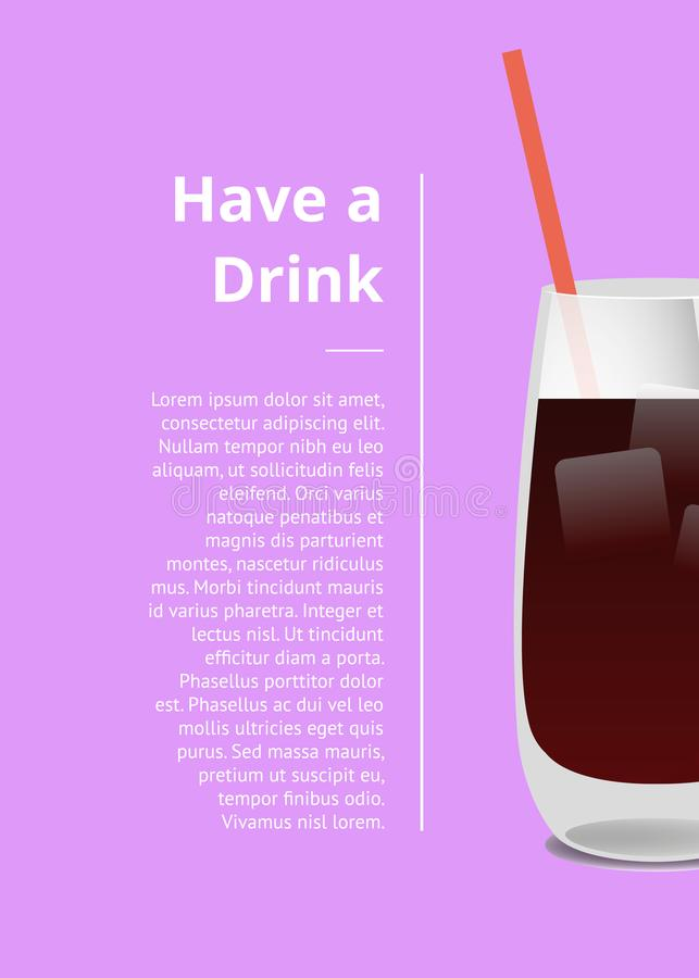 有饮料夏天党与鸡尾酒的电视节目预告海报 向量例证