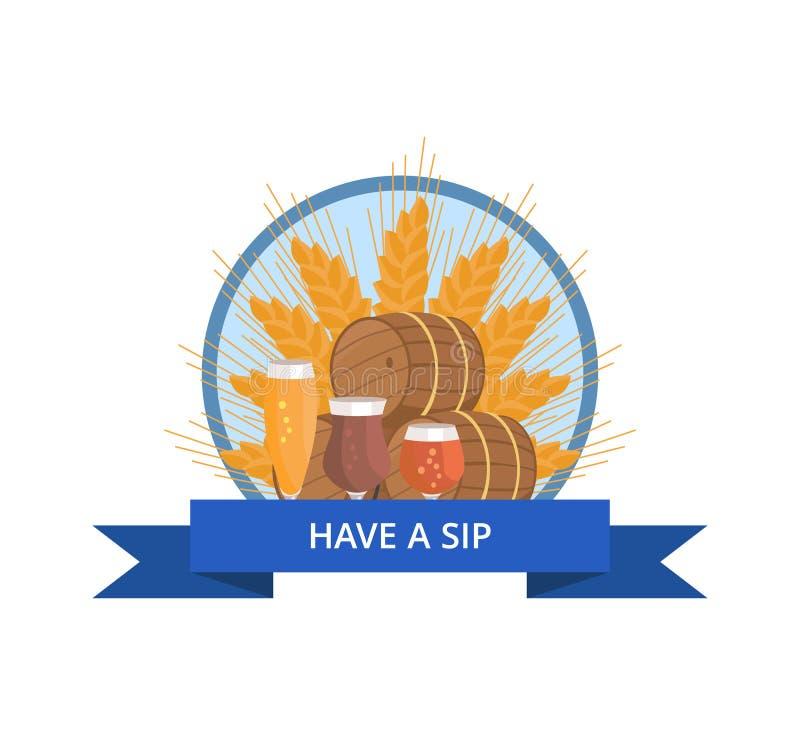 有饮者商标用麦子、啤酒桶和玻璃 皇族释放例证