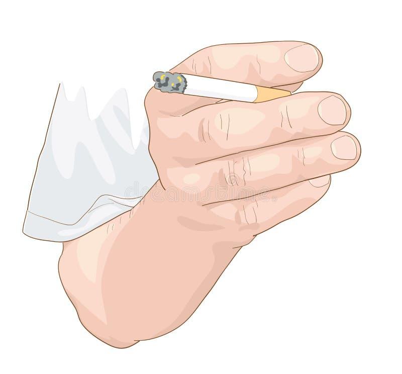 有香烟的手。 向量例证