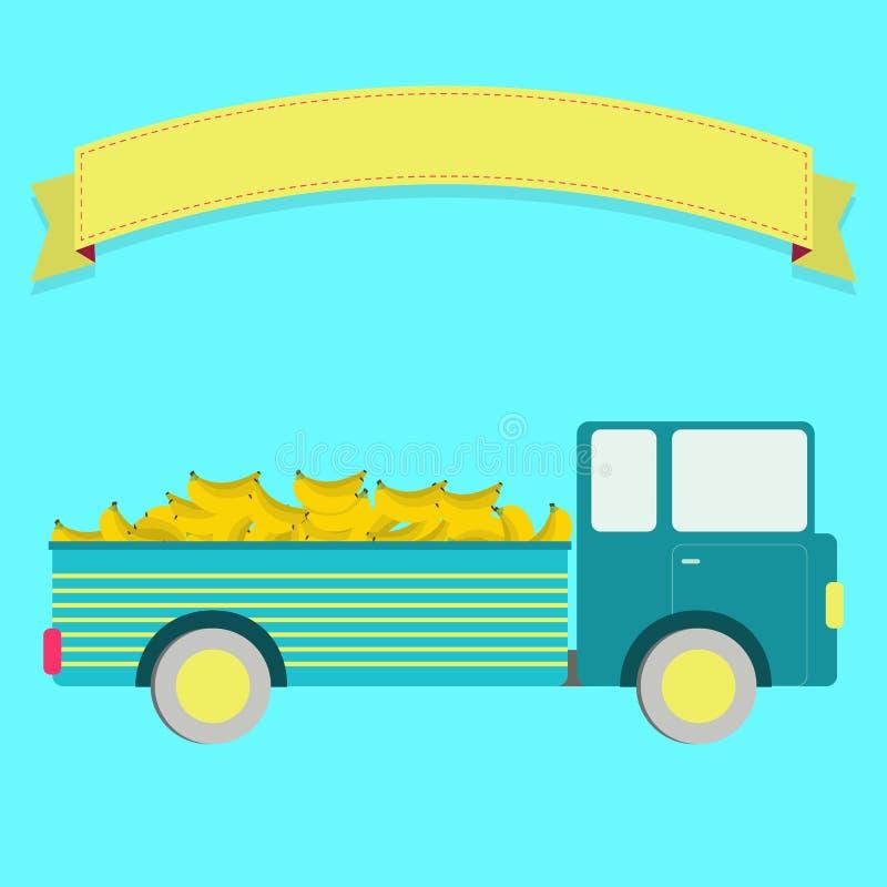有香蕉收获的卡车 库存例证