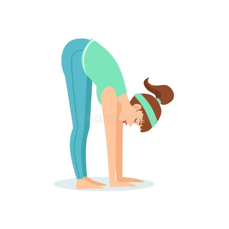 有马尾辫的女孩动画片信奉瑜伽者展示的常设向前弯Uttanasana瑜伽姿势在蓝色嬉戏衣物 向量例证