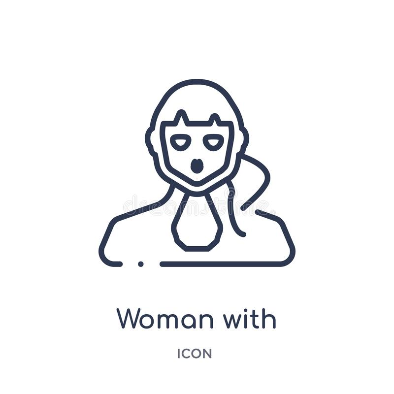 有马尾辫面孔象的妇女从人概述汇集 与马尾辫在白色背景隔绝的面孔象的稀薄的线妇女 向量例证