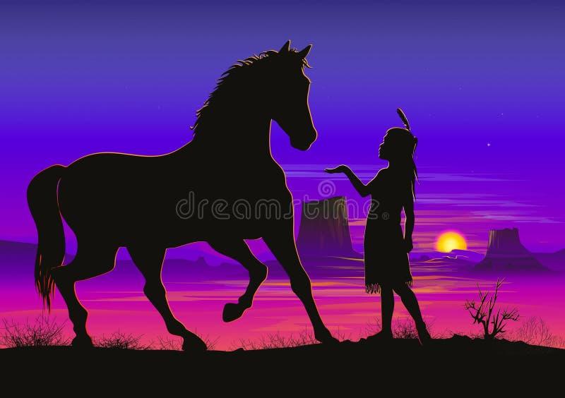 有马的小印地安女孩 皇族释放例证