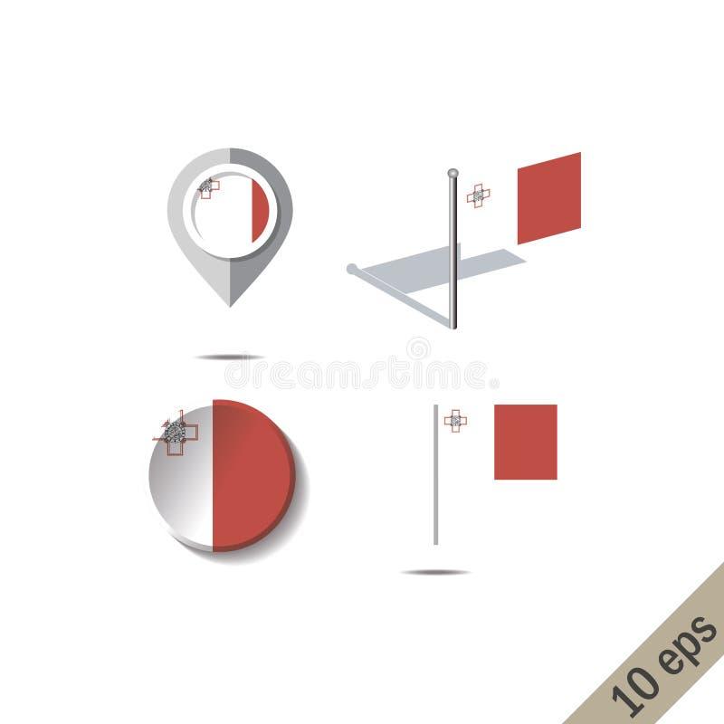 有马耳他旗子的地图别针  皇族释放例证