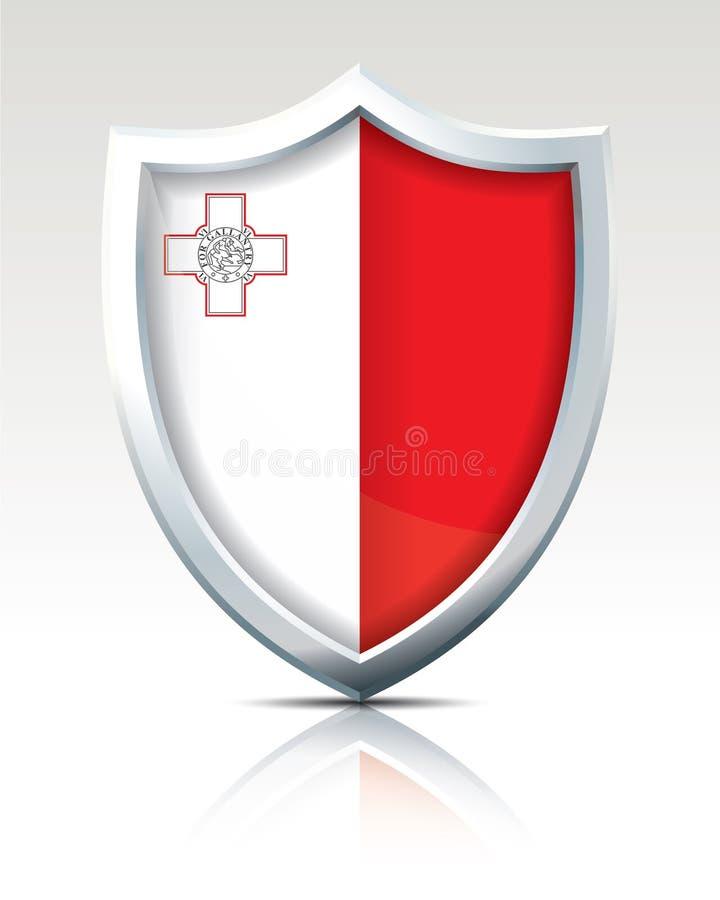 有马耳他旗子的盾  向量例证