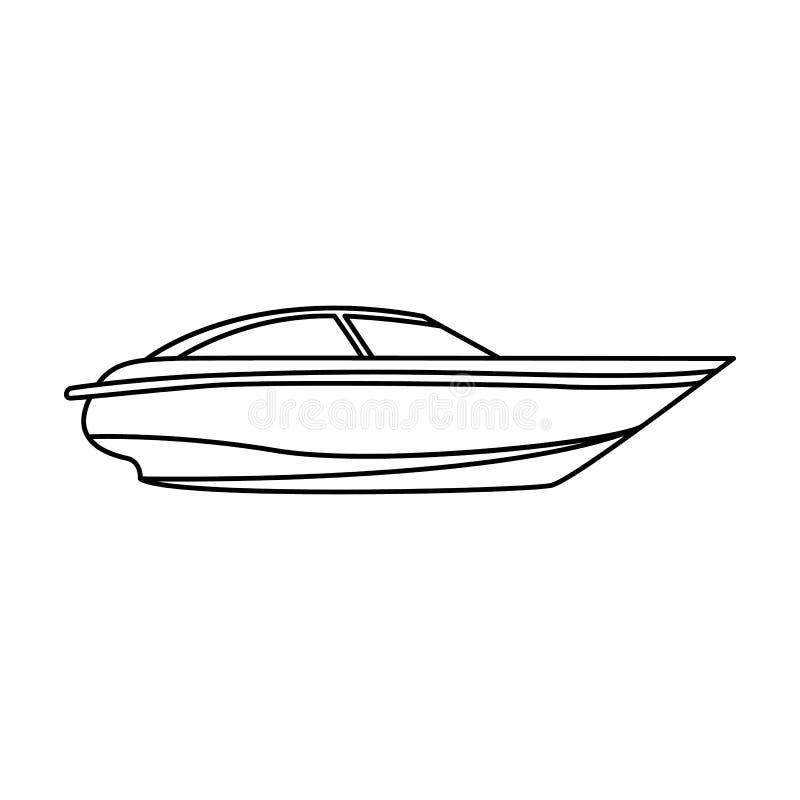 有马达的一条小白色小船 速度和竞争的小船 船和水运输在概述样式的唯一象 库存例证