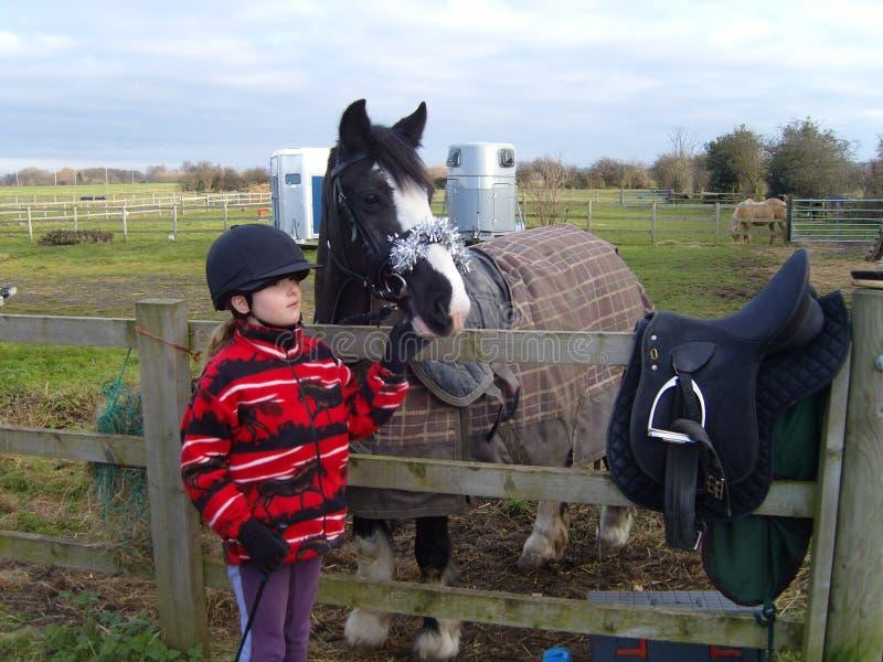 有骑马小马的孩子在领域 库存图片
