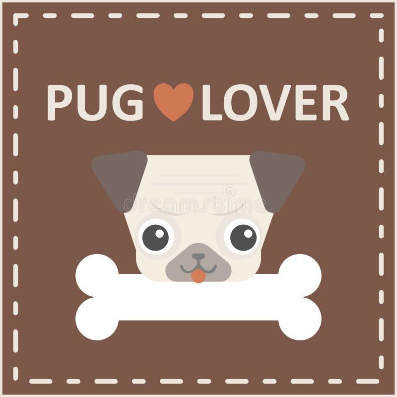 有骨头商标的逗人喜爱的愉快的哈巴狗狗头在棕色背景 库存例证