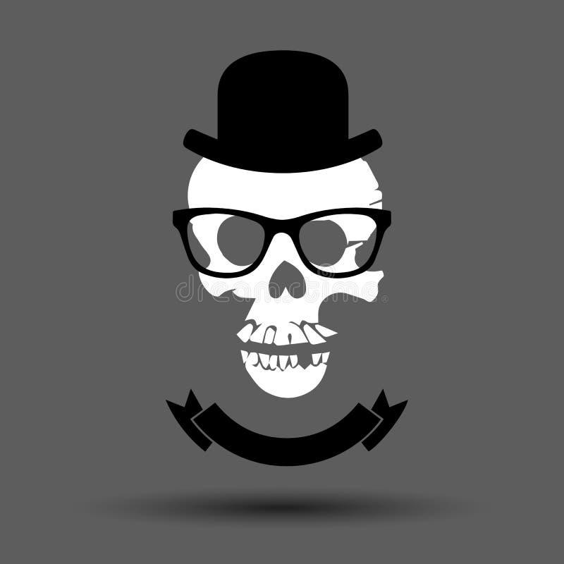 有骨头标志的头骨 也corel凹道例证向量 有属性的异常的头骨 向量例证