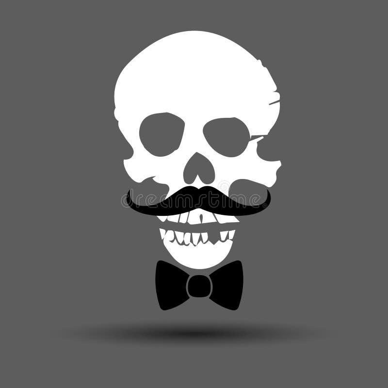 有骨头标志的头骨 也corel凹道例证向量 有属性的异常的头骨 库存例证