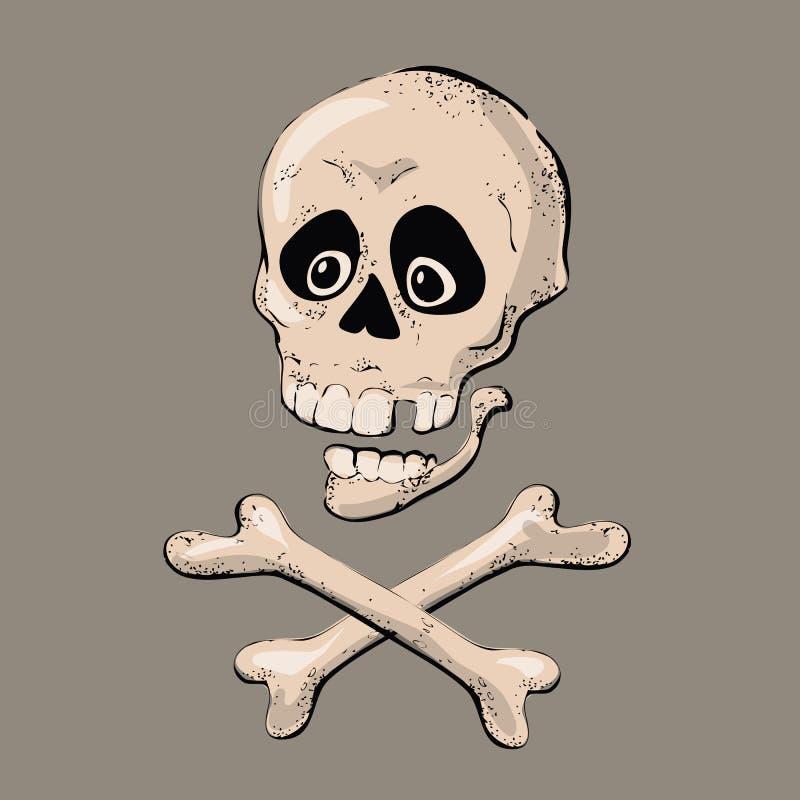 有骨头标志的头骨 也corel凹道例证向量 库存例证