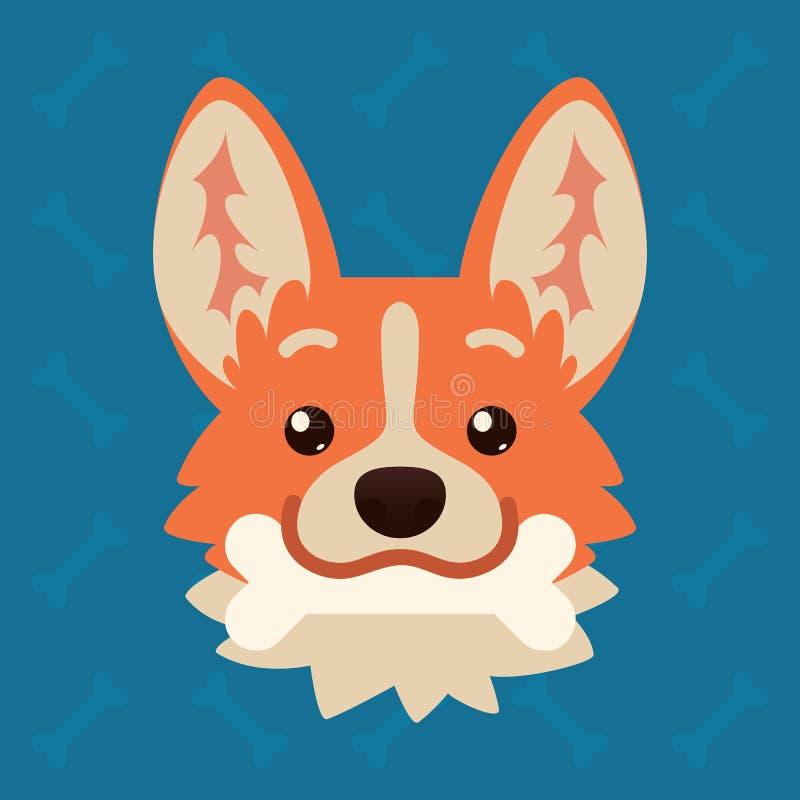 有骨头的小狗狗情感头在嘴 逗人喜爱的狗的传染媒介例证在平的样式的显示嬉戏的情感 活跃 库存例证