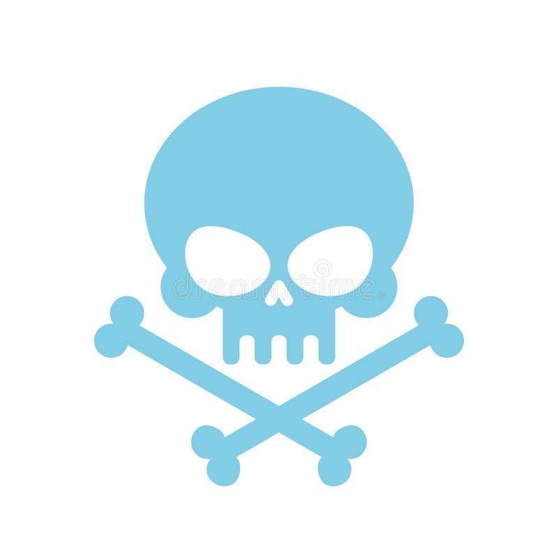 有骨头的逗人喜爱的头骨 蜂蜜,亲切的蓝色顶头骨骼 商标, emb 皇族释放例证