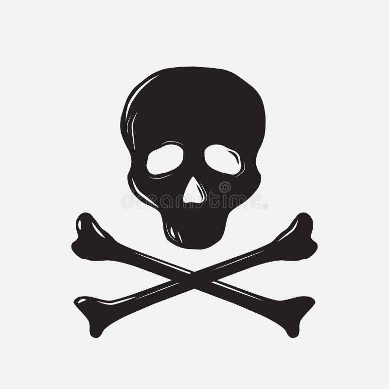 有骨头的头骨,剪影,传染媒介例证 库存例证