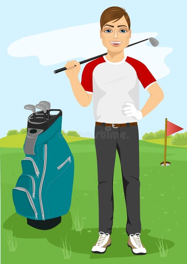 有高尔夫俱乐部的英俊的男性高尔夫球运动员 向量例证
