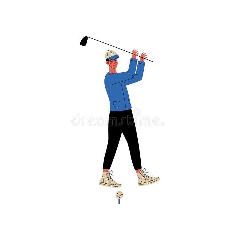 有高尔夫俱乐部的,在打高尔夫球,活跃健康生活方式传染媒介例证的运动服的男性运动员字符人 向量例证