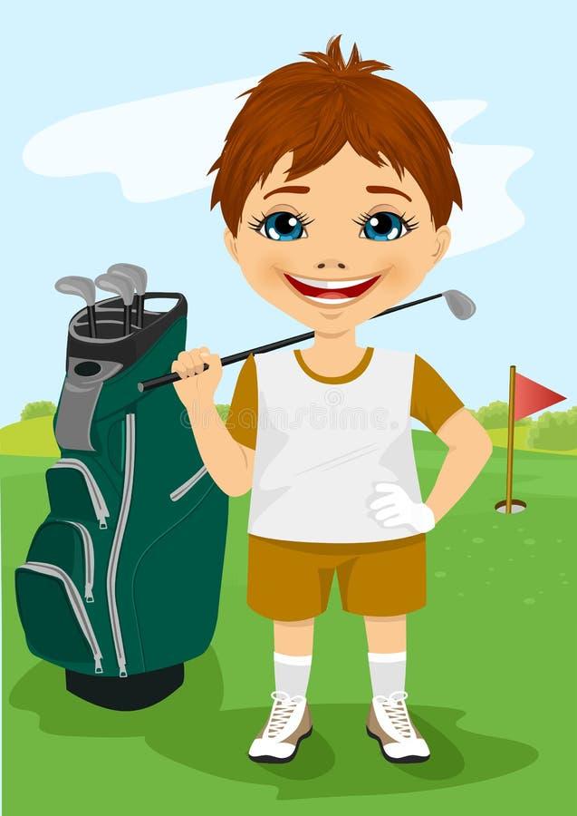 有高尔夫俱乐部的年轻小男孩 向量例证