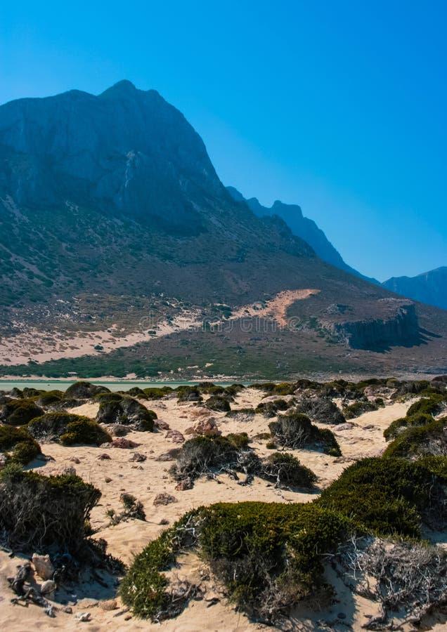 Gramvousa海岛和克利特的Balos盐水湖 免版税库存图片