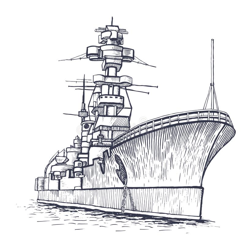 有高帆柱的军舰 向量例证