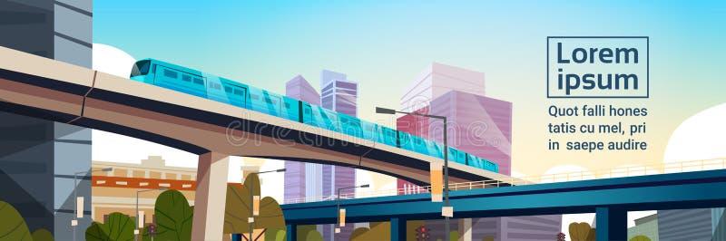 有高摩天大楼和地铁都市风景模板背景水平的横幅的现代城市全景 向量例证