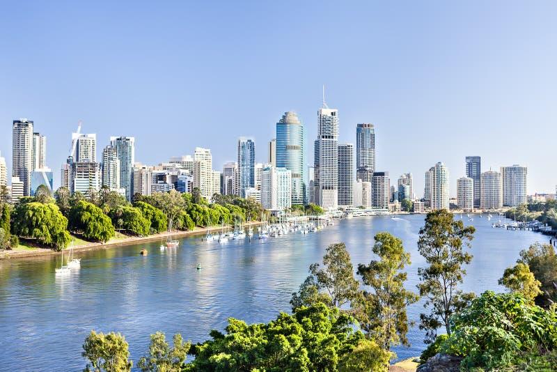 有高楼的巨大的城市在绿色发辫中 免版税库存图片