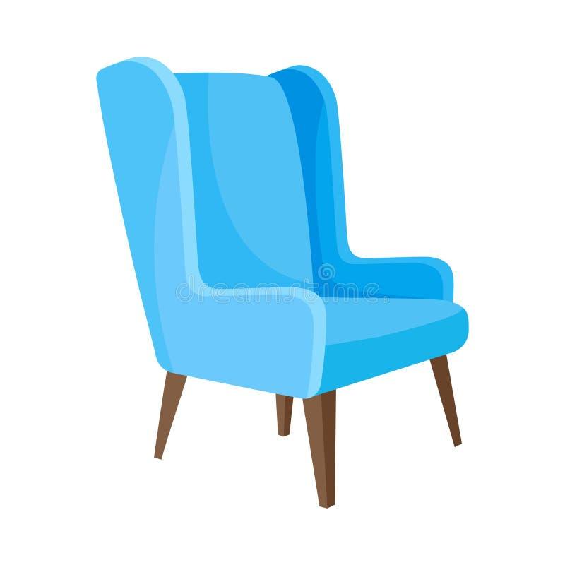 有高腿的浅兰的扶手椅子 r 库存例证