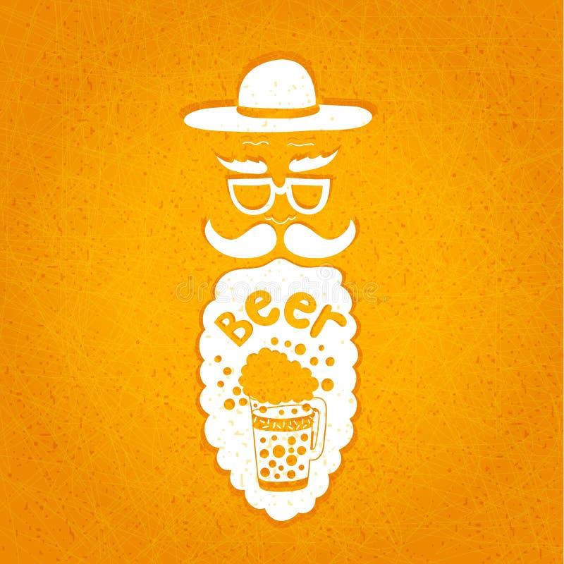 有髭、玻璃和一个时髦的帽子的一个有胡子的人 在他的胡子的印刷构成 与胡子的风格化面孔 皇族释放例证
