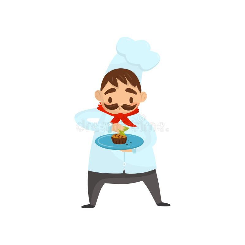 有髭的专业厨师装饰盘的 烹调在有帽子和红色围巾的制服 平的传染媒介象 皇族释放例证