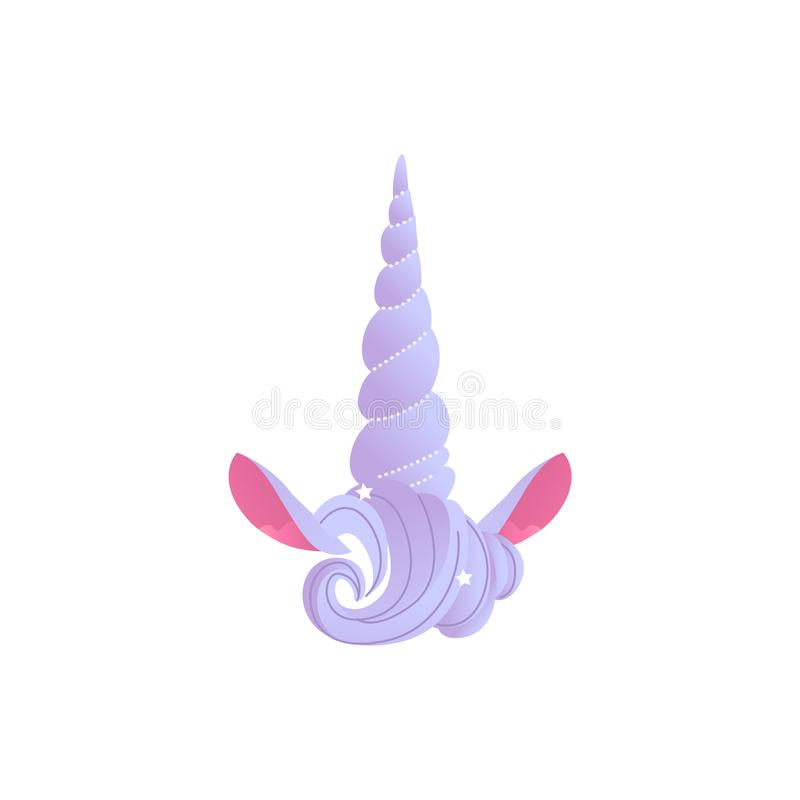 有鬃毛和耳朵传染媒介例证的独角兽紫色垫铁在动画片样式 向量例证