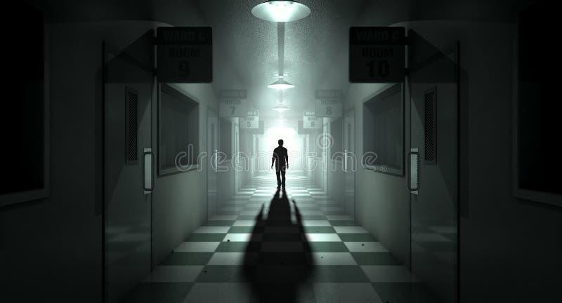 有鬼的图的精神病院 免版税库存照片