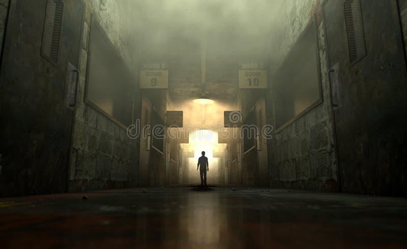 有鬼的图的精神病院 库存图片