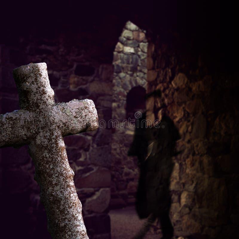 有鬼魂的土窖 库存照片