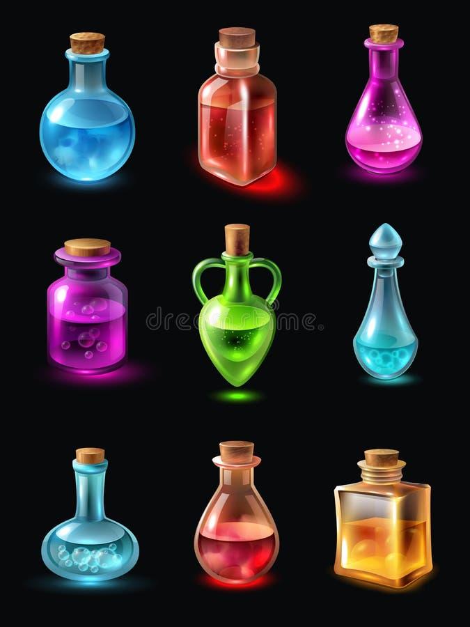 有魔药集合的瓶 皇族释放例证