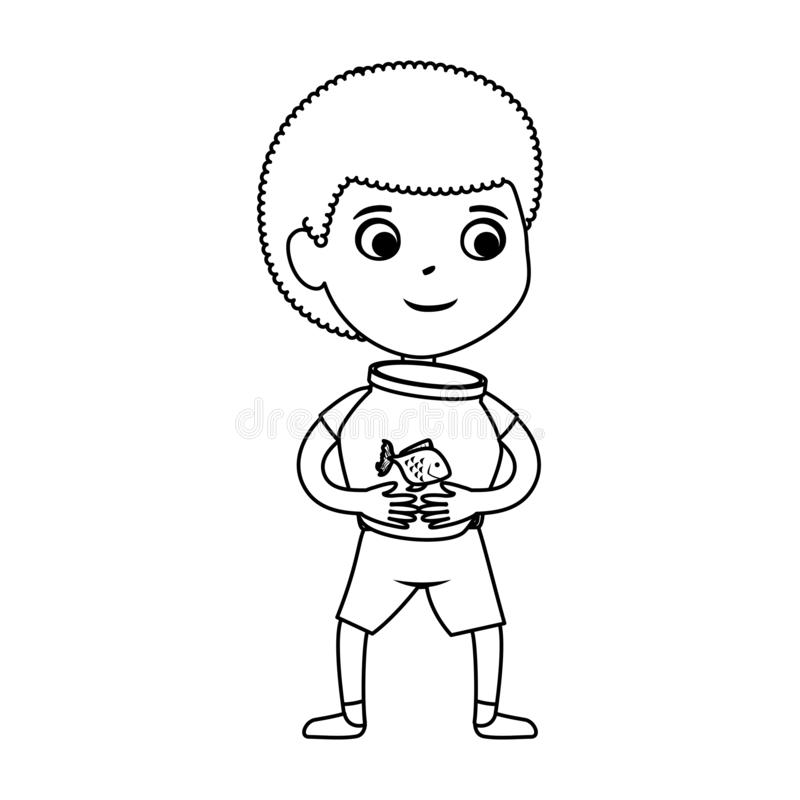 有鱼的逗人喜爱的矮小的黑人男孩在水族馆 库存例证