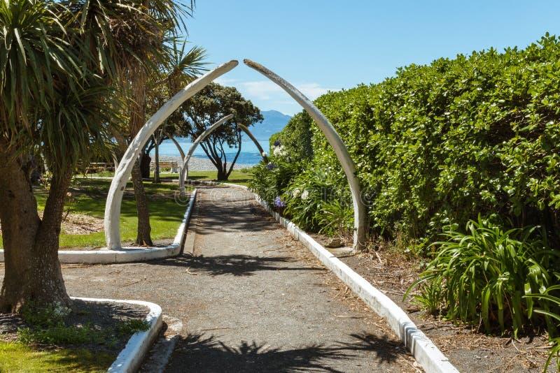 有鲸鱼骨头的战争纪念建筑庭院在Kaikoura,新西兰成拱形 免版税图库摄影