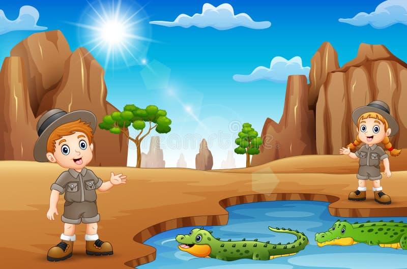 有鳄鱼的动物园管理员在沙漠 向量例证