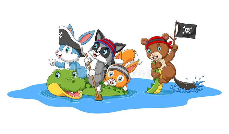 有鳄鱼的愉快的动物使用的海盗 向量例证