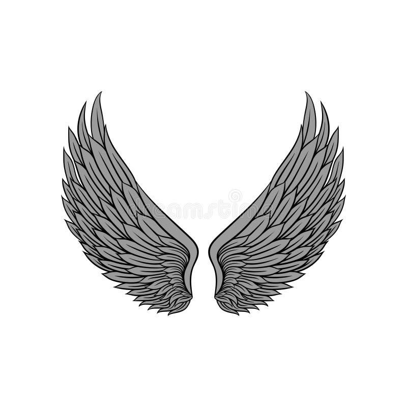 有鸟或天使灰色羽毛的美丽的纹章学翼  纹身花刺艺术品 葡萄酒样式海报的,贴纸传染媒介 皇族释放例证