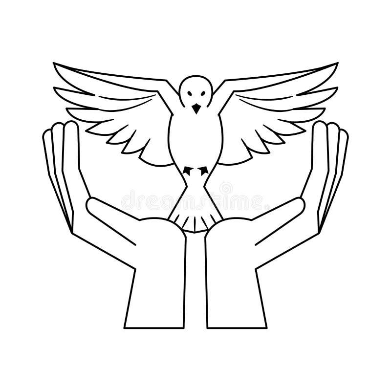 有鸠飞行动画片的黑手党在黑白 库存例证