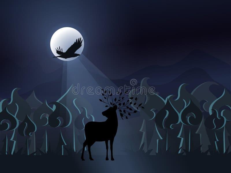 有鹿剪影的幻想有薄雾的夜森林和在满月的背景的一只飞行的黑鸟 向量 皇族释放例证
