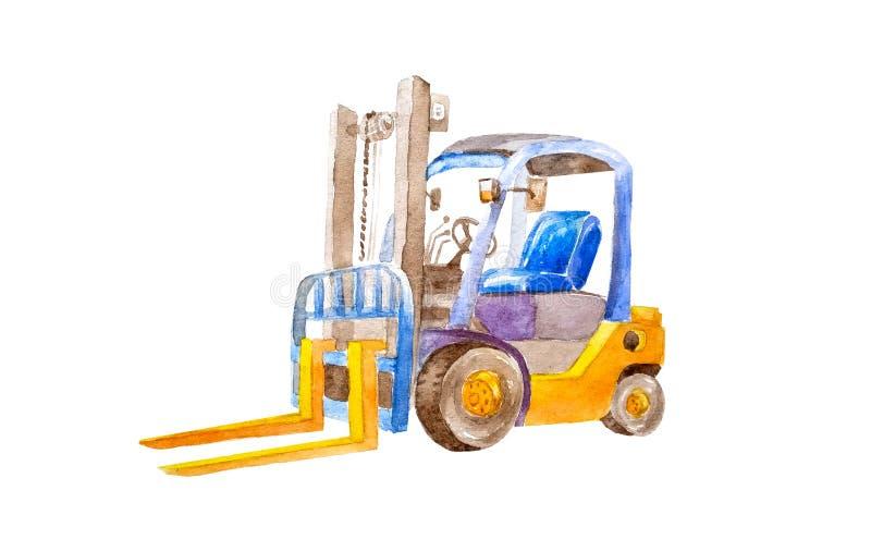 有黄色叉子的水彩黄色铲车没有在一个安静的状态的装载在被隔绝的白色背景 发行 库存例证
