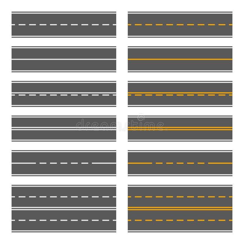 有黄色和空白线路的柏油路 模式无缝的集向量 向量 皇族释放例证