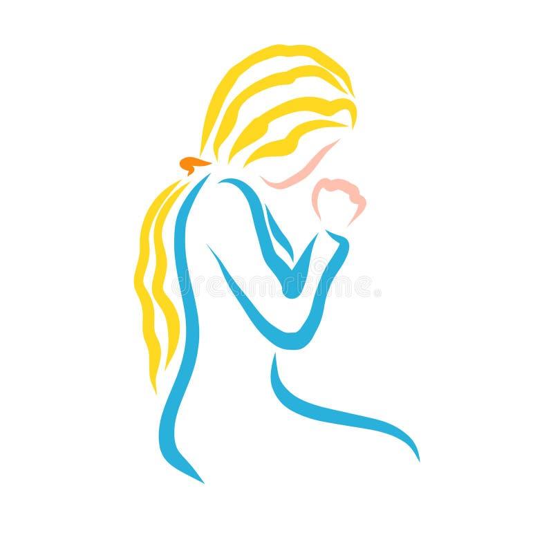 有黄色头发的少妇谦逊地祈祷对上帝的 库存例证