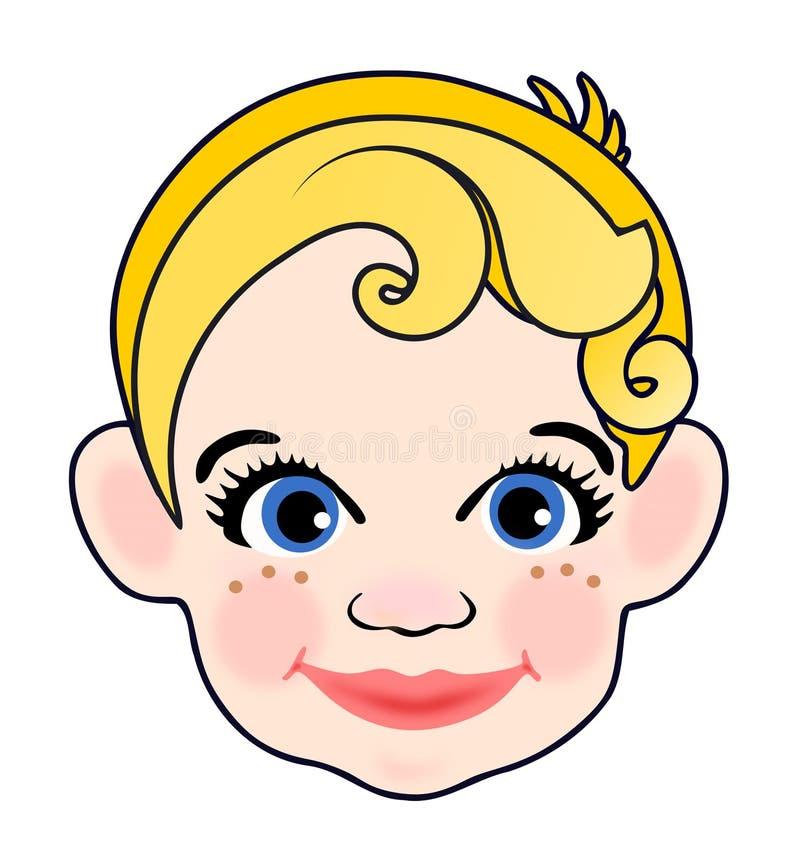 有黄色头发的微笑的宝贝 皇族释放例证